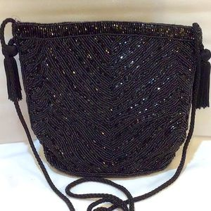 Evening bag, beads, tassels, EUC